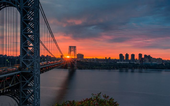 Download wallpapers George Washington Bridge, New York, Manhattan, sunset, USA, metropolis, skyscrapers, Hudson River