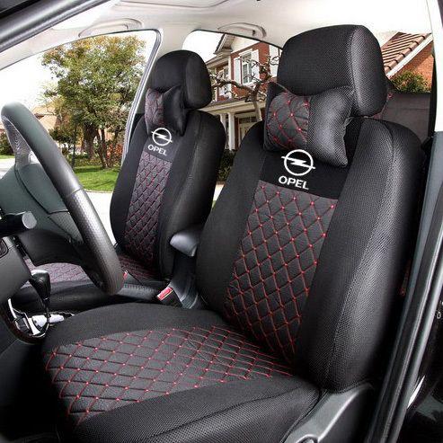Шелковый дышащий вышивка логотипа настроить для автомобильных сидений для Opel Zafira Meriva Ampera знаки Astra Agila Corsa с подушками купить на AliExpress