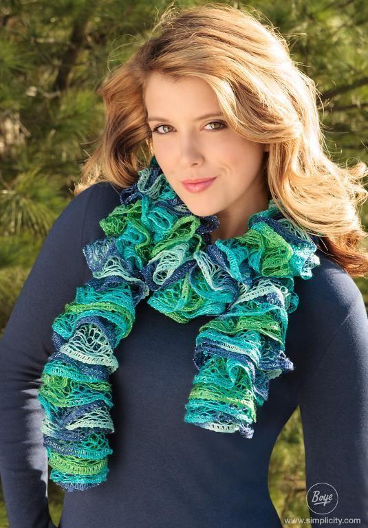 loom knitting scarf | Loom Knit Ruffle Scarf by Simplicity | Knitting Ideas