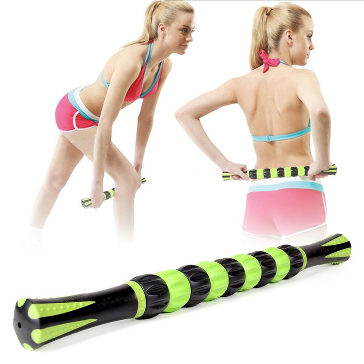 18 Inches Muscle Roller Stick for Athletes 9 Rollers Full Body Massage Roller Stick Tools Muscle Roller Massager Stick for…