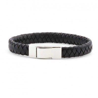 Elegante #pulsera #Lotus de #cuero trenzado negro y acero.
