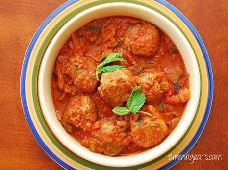 Lamb and Mint Meatballs in a Sweet and Spicy Sauce | Slimming Eats - Slimming World Recipes