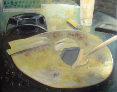 "Saatchi Art Artist Loredana Găină; Painting, ""Sitting In A Cafe 2"" #art"