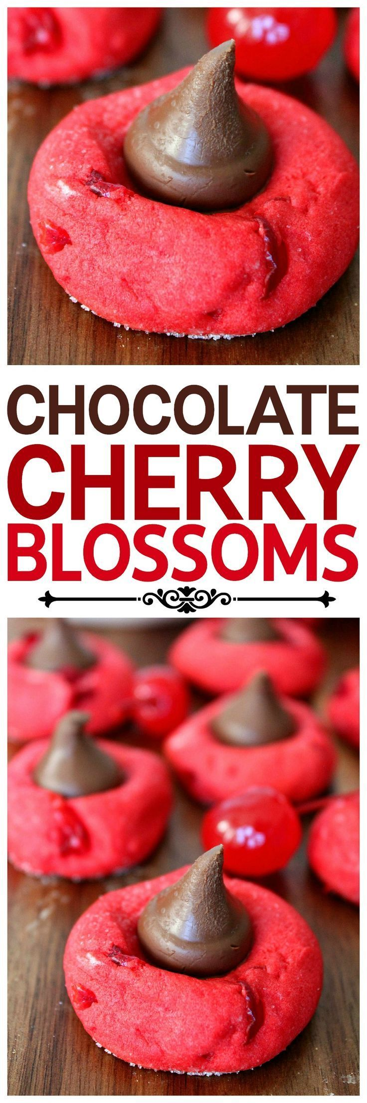 Cherry sugar cookies topped with a Hershey's Kiss. Tastes like a chocolate covered cherry, and looks gorgeous on Christmas cookie trays! #cherry #chocolate #christmas