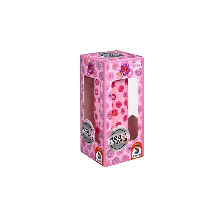 Kirakó torony- Virágos, Puzzle Tower Flowers, logikai játék 8 éves kortól - Schmidt Spiele