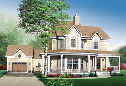 A Large Wrap Around Front Porch And Bay Windows Adds Extra