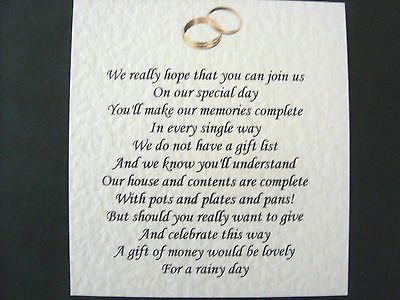 20 Wedding Poems Asking For Money Gifts Not Presents Ref No 12