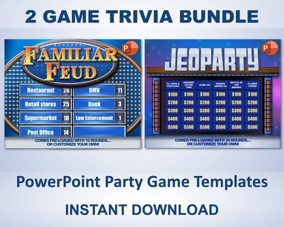 Family Feud Jeopardy Powerpoint Party Game Templates Pc Mac