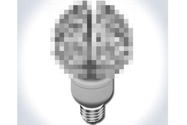 The Brain Bulb.      何をモチーフにした電球かというと、タイトルそのものがヒントです。答えの写真はこちら。そう、発想の起源である脳です。アイディアは脳...