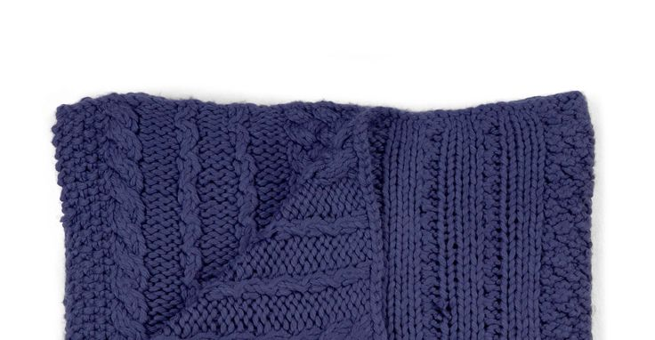 Cable Hand Knitted Throw 127 x 152cm, Cobalt Blue