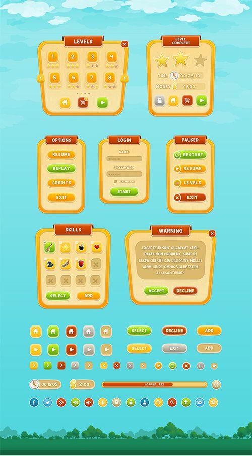 Mobile Game GUI PSD Design  #game #gui #ui #art #interface – Game Design