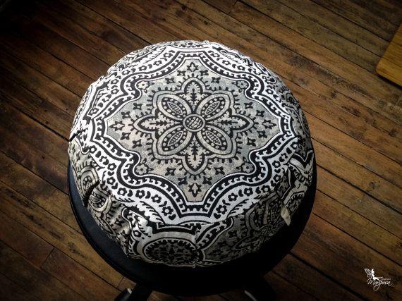 Meditation cushion zafu cotton - Gray Mandala -  Buckwheat pillow with handle Mariposa Organic hulls