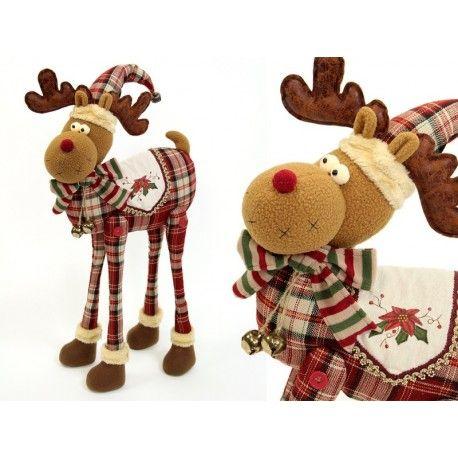 Decoración Navidad. Figura reno de tejido decorativo para Navidad, 30cm de largp por 60 de alto.