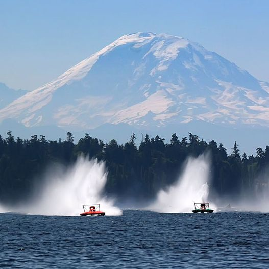 Seafair Festival on Lake Washington during the summers every year with Mount Rainier in the back, Washington