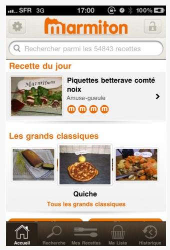 """Application Iphone - Marmiton - mise en avant de """"la recette du jour"""" et des """"grand classiques"""""""