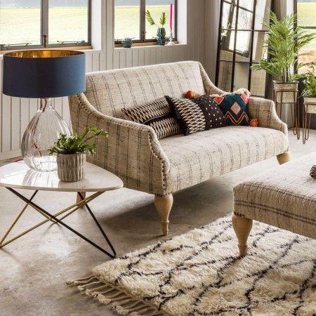 Renée Two Seat Linen Stripe Sofa - Sofas - Sofas & Seating - Furniture