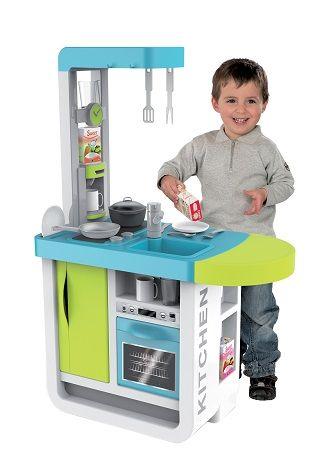 Detská elektronická kuchynka CHERRY tyrkysovo-zelená so zvukmi jedálenským pultom a kávovarom + 25 doplnkov 97 cm výška