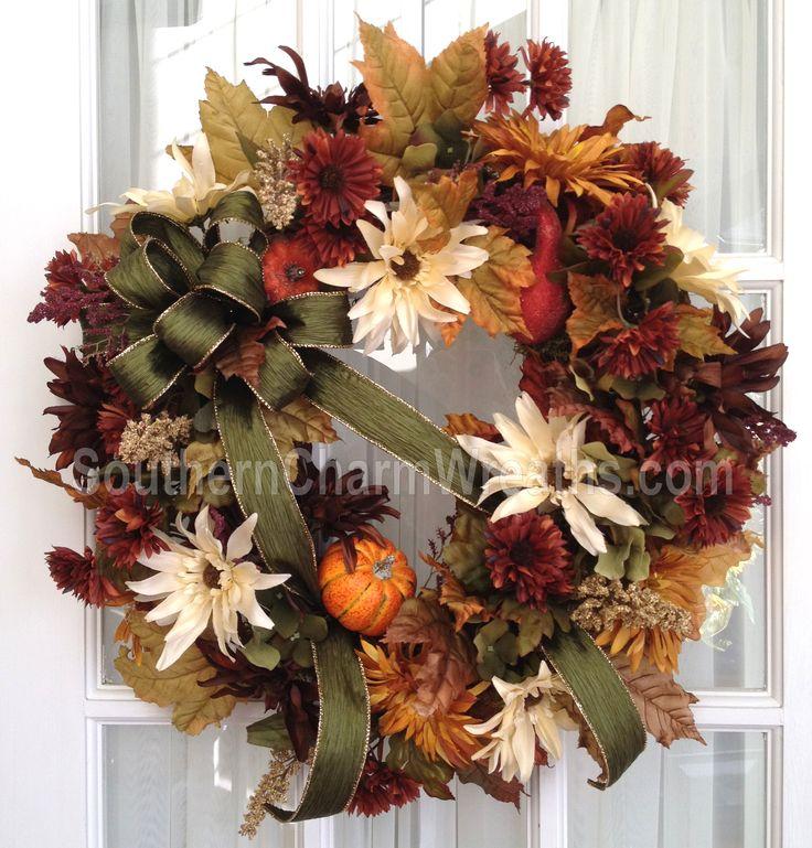 Custom fall silk wreath by www.southerncharmwreaths.com #fall #silkwreath