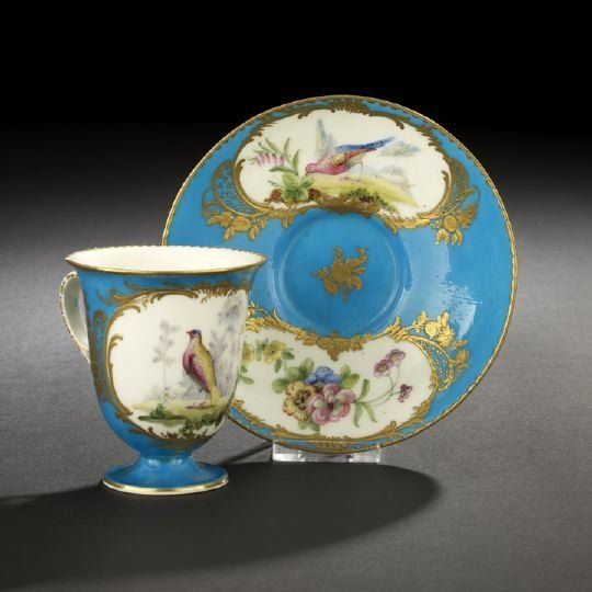 Sevres Porcelain Chocolate Cup and Saucer, ca. 1775