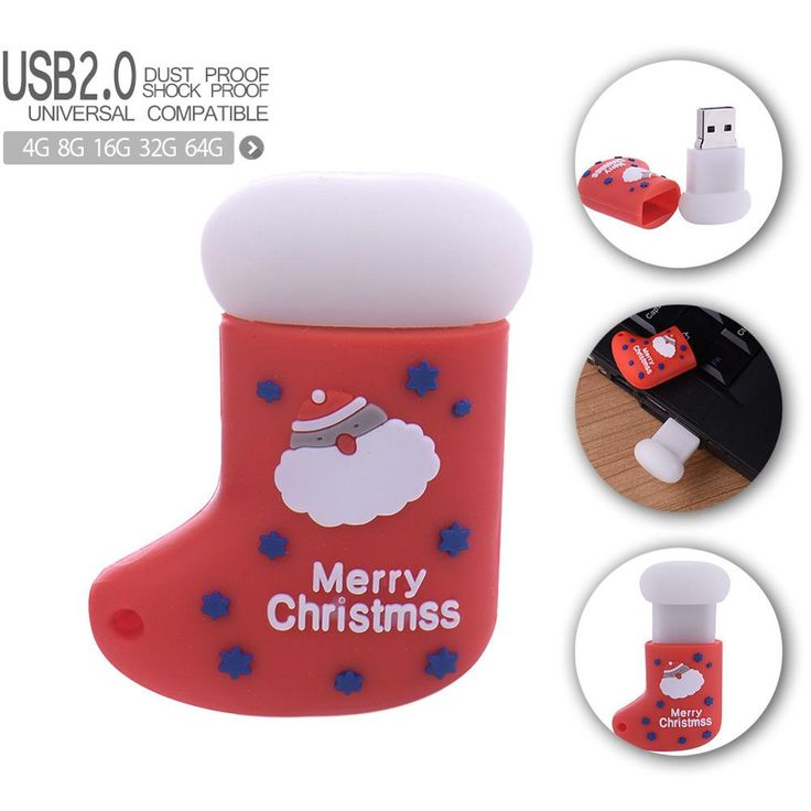 Christmas Stockings USB 2.0 Pen Drive Elk Deer Sintirklass Santa Claus USB Flash Drive Pendrive Dropshipping Christmas Gift