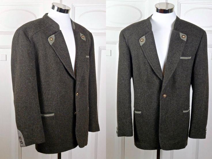 Wool Trachten Jacket, German Vintage Brown Knit Wool w Gray Velvet Accents Bavarian Octoberfest Hunting Jacket: XL, Size 44 US/UK by YouLookAmazing on Etsy