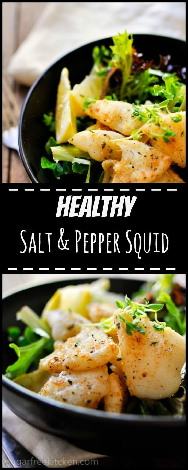 This healthy salt and pepper squid recipe is light, crispy and incredibly tender.  This is the perfect lunch for sharing with friends over a glass of wine!