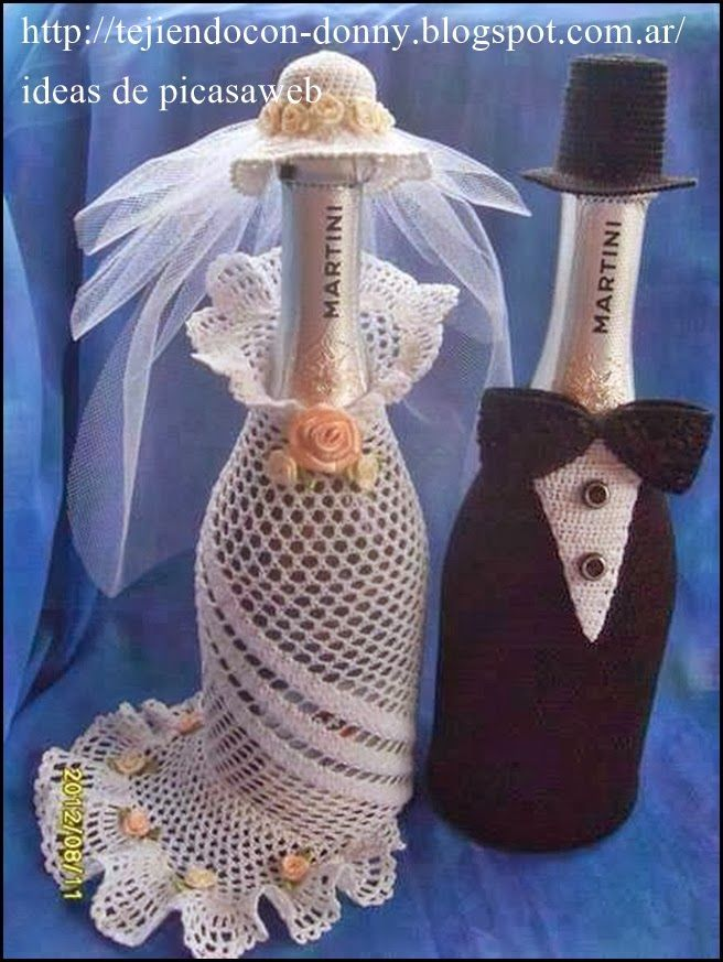 Crochet wedding bottle covers