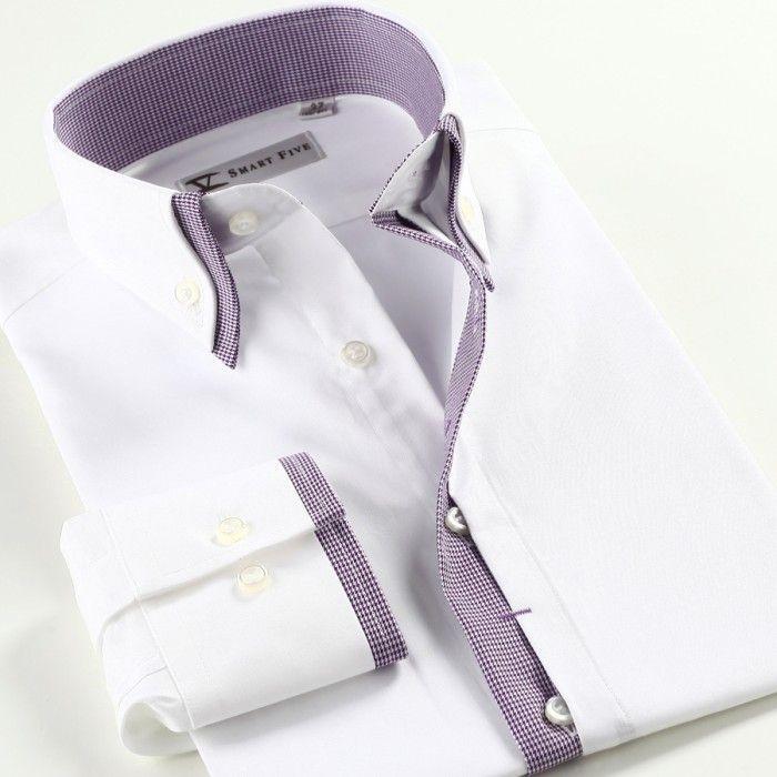 Smart Five Men Double Collar Silm Fit Long Sleeve Shirt-White-Purple-1-700x700.jpg (700×700)
