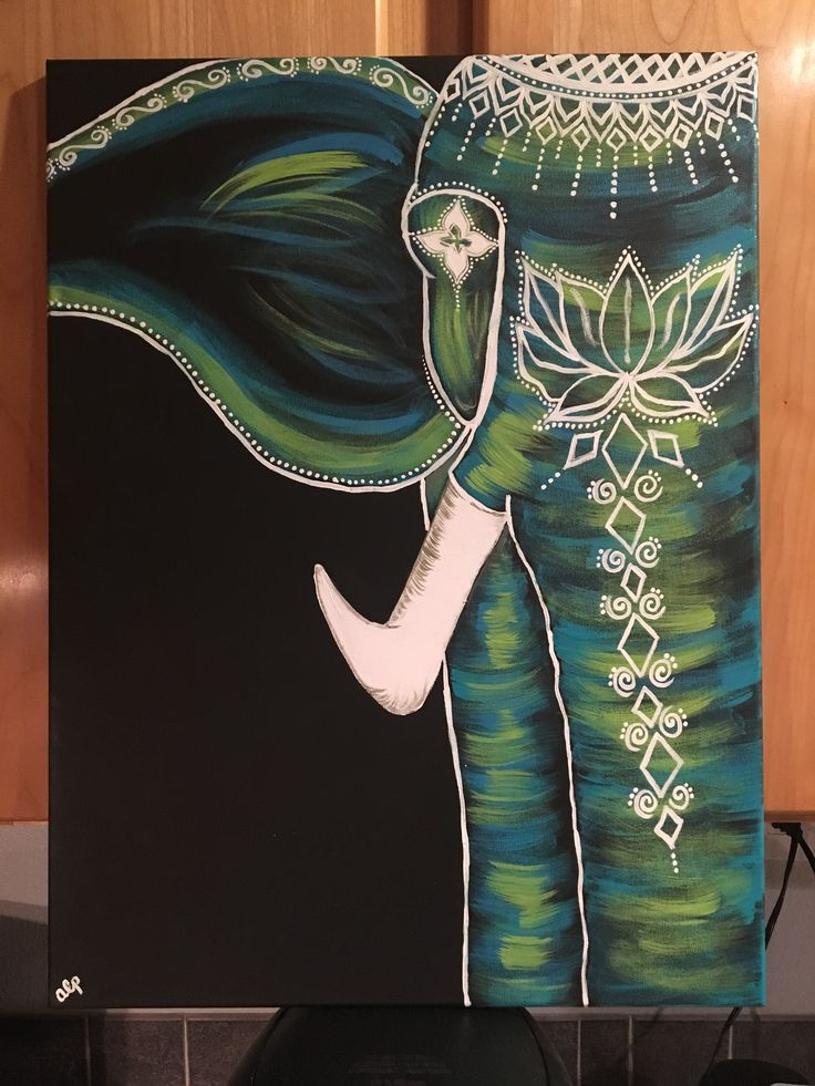 2fitmomz.com Turquoise green and blue elephant with henna inspired accents. Acrylic paint on canvas #OilPaintingElephant