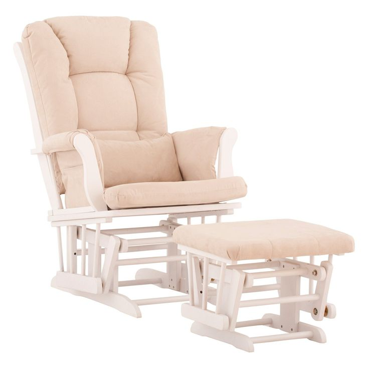 Have to have it. Storkcraft Tuscany Glider and Ottoman with Free Lower Lumbar Pillow - White Finish with Beige Cushions - $239.99 @hayneedle