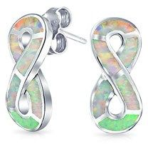 Bling Jewelry 925 Silver Synthetic White Opal Stud Infinity Earrings Rhodium Plated.