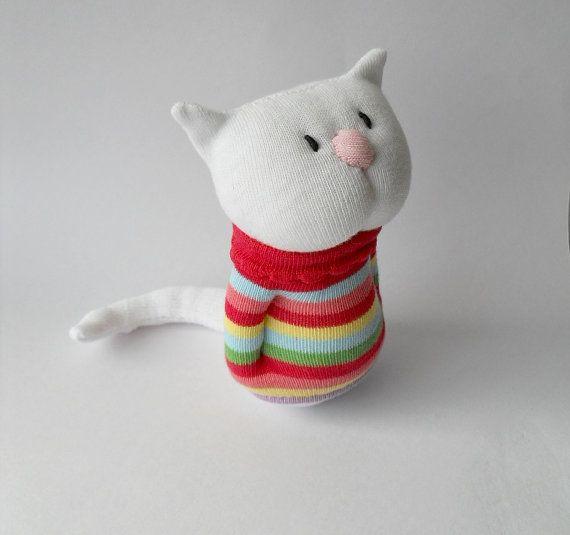 kitten, cat, sock animal, plush animal, rainbow, sock doll, soft sculpture, Marshmallow