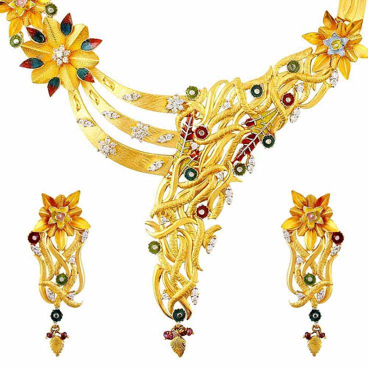 #Necklace #Set #Gold #Mehrasons #Jewellers #Bridal #Design #trousseau #innovative #beautiful