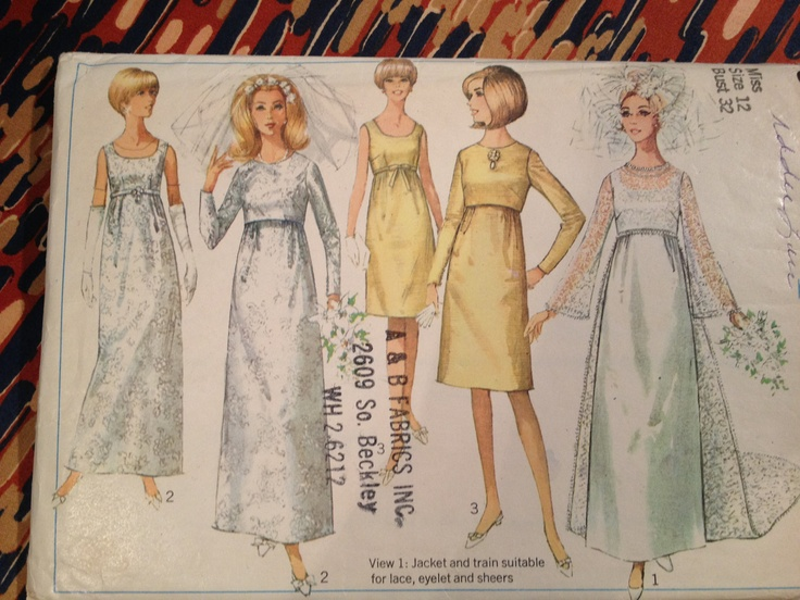 1966 vintage simplicity 6759 empire waist wedding gown for Empire waist wedding dress patterns
