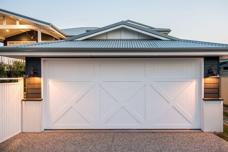 Garage door with timber detailing.