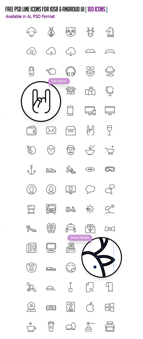 Free PSD Line Icons for iOS8 and Android UI - (100 Icons) #androidicons #freeicons #psdicons #vectoricons #ios8icons