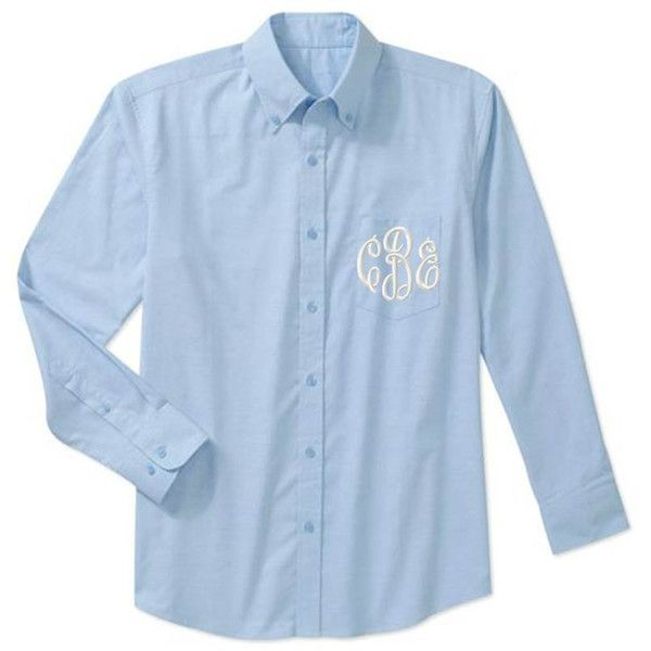 ShopModernMonograms Monogrammed Bridesmaid Wedding Day Monogram Shirt... ($27) ❤ liked on Polyvore featuring tops, blouses, blue, women's clothing, blue shirt, blue oxford shirt, monogram pocket shirts, long sleeve shirts and long sleeve tops