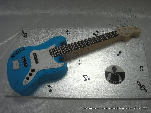 Fender Jazz Cake. Fender Jazz Bass. An electric bass guitar shaped novelty cake of this famous brand.  Covered in blue icing, but can be produced in any colour.