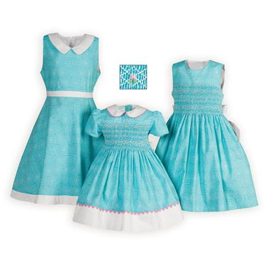 Cotton Turquoise Delight Easter Sister Dresses made Exclusively for Wooden Soldier Classic styling in a fun geometric print of 100% cotton. Knee lengths. Machine wash. Imported.