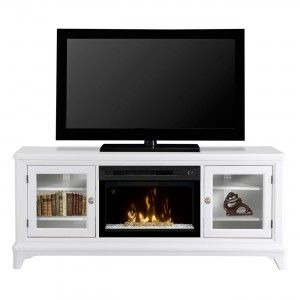 PF2325HG Insert with Fixed Glass Front White Finish Electric Fireplace Media Console Multi-function Remote Control Logs Included 120V Plugin All LED Technology