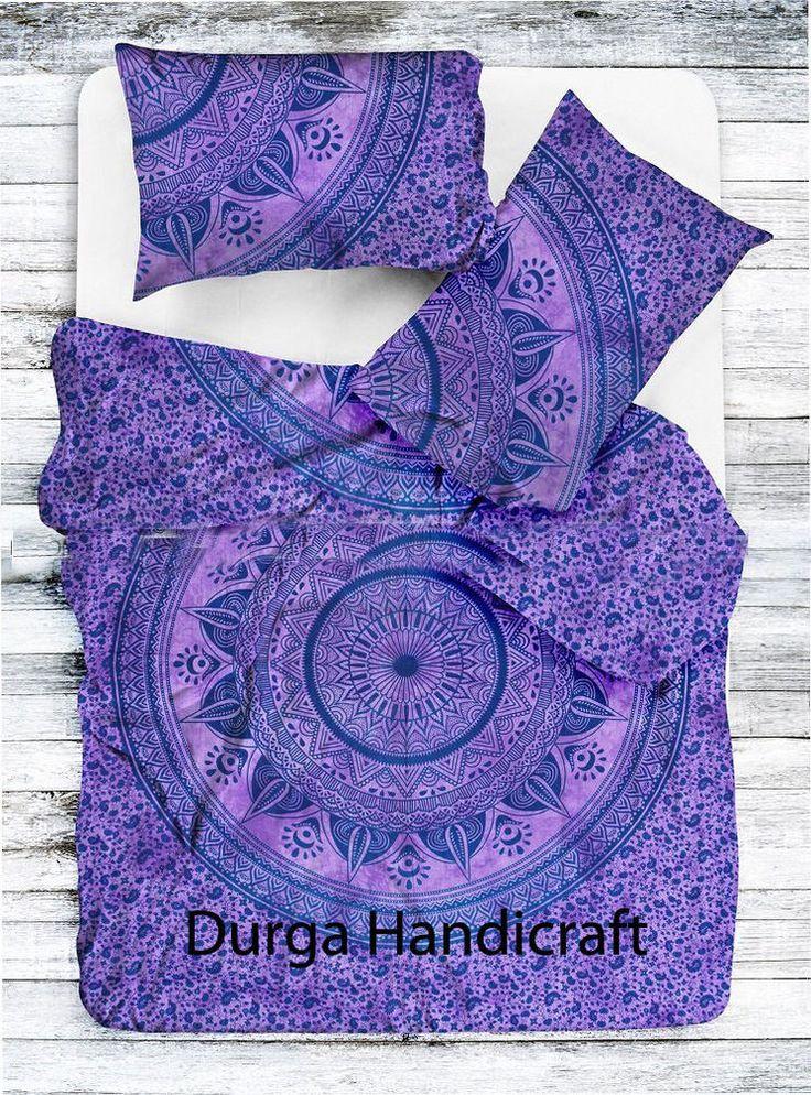 Indian Mandala Queen Size Duvet Cover Doona Blanket Set Reversible Hippie Throw #Handmade #Traditional #DuvetCoverDoonaCoverQuiltColer