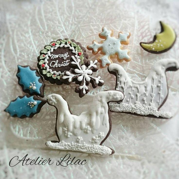 そり  #アトリエライラック#sugarsugar認定校#クリスマス#そり#雪#icing#icingcookie#snow#Christmas#frosting#アイシングクッキー教室#大阪#池田#川西#箕面#伊丹#豊中#北摂