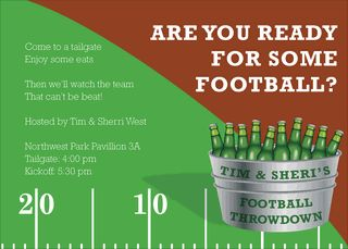 Football Bucket Of Beer Party Invitations