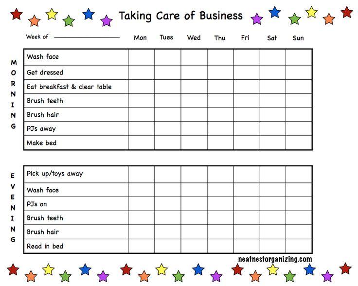 printable kids morning checklist - Google Search