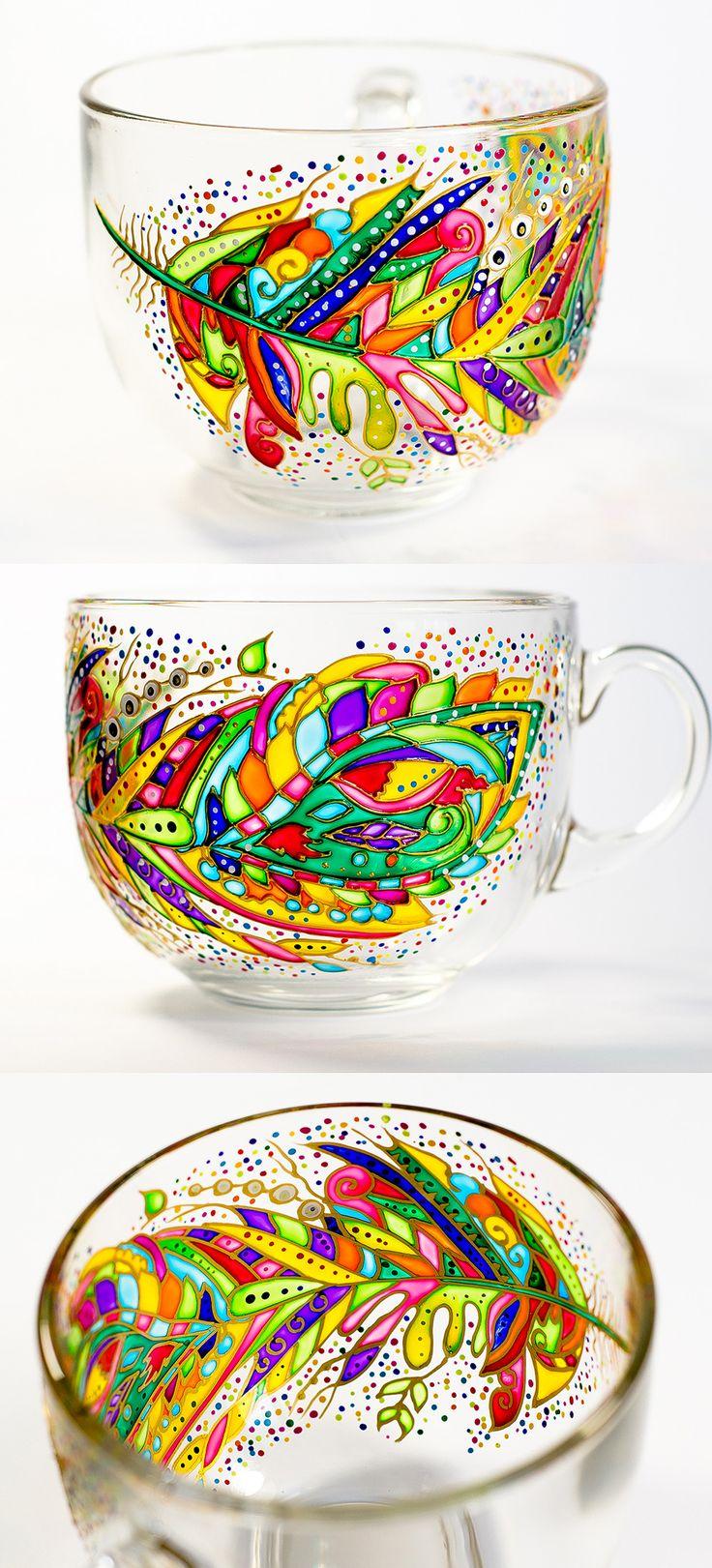 Inspirational Mug Mom Mug Feather Coffee Mug, Mothers Day Gifts Large Coffee Mug, Cup for Mom Glass Tea Mug Gift for her