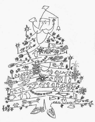 Mid Century Modern Santa illustration by Saul Steinberg.