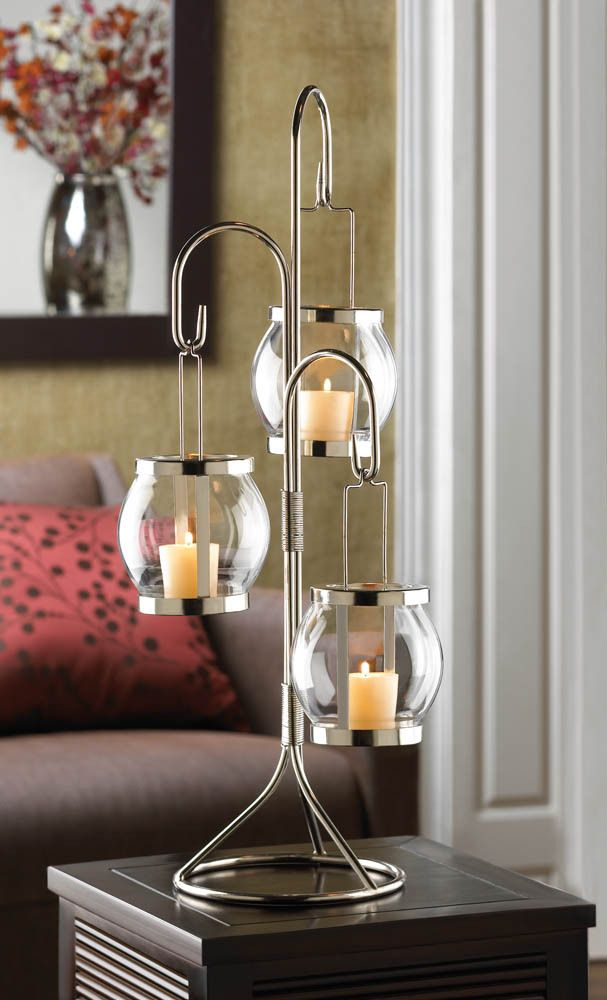 Tall votive candle holder tree with hanging glass balls