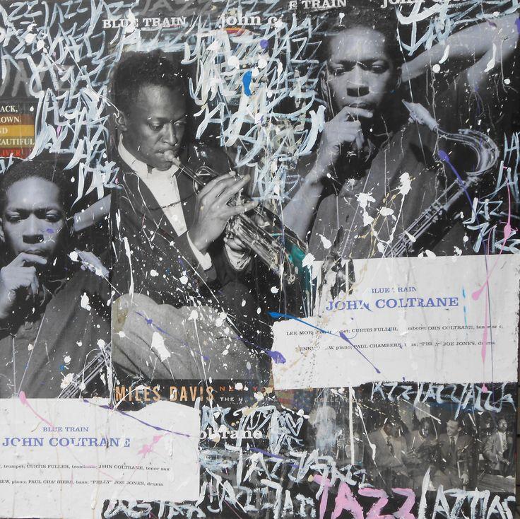 Available @ http://marishagulmann.com/ #art #popart #streetart #jazz #johncoltrain #bluetrain #music #decor #paintings #artwork #colors #home #invest