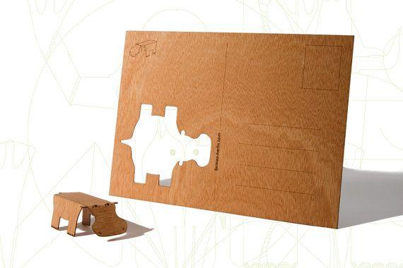 Postkarten aus Holz  Nilpferd 3er Set von formesberlin auf Etsy, €11,60