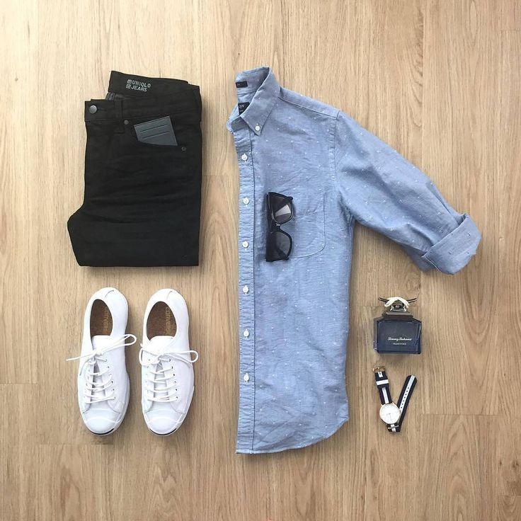 "- CAPSULE WARDROBE (@capsulewardrobemen) on Instagram: ""Repost @mrjunho3) Breezy Sunday . .  Shirt: @jcrewmens - Embroidered Anchors Jeans: @uniqlo Shoes:…"""